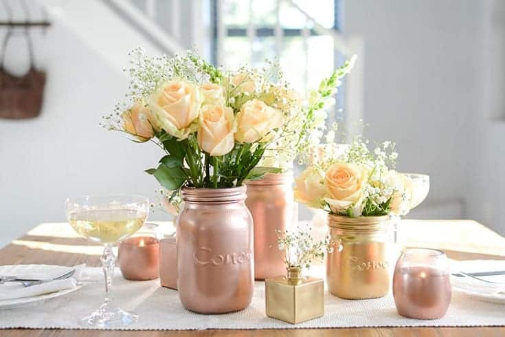 Metallic Spray Paint DIY Table Decor Ideas