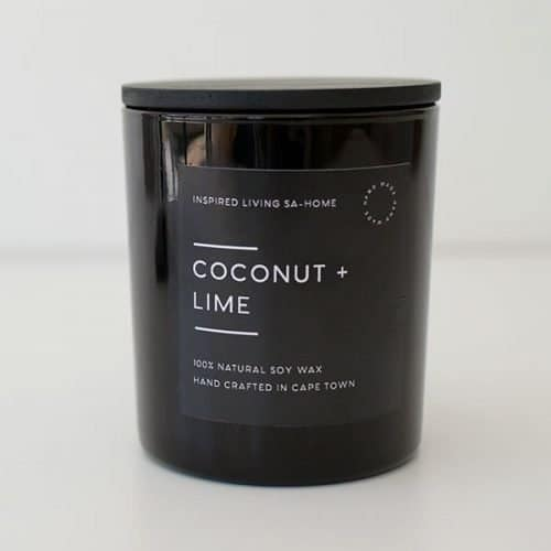 Black Glass Candle - Coconut & Lime