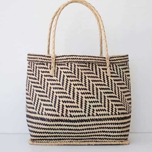 Handwoven Black and Natural Bamboo Shopper